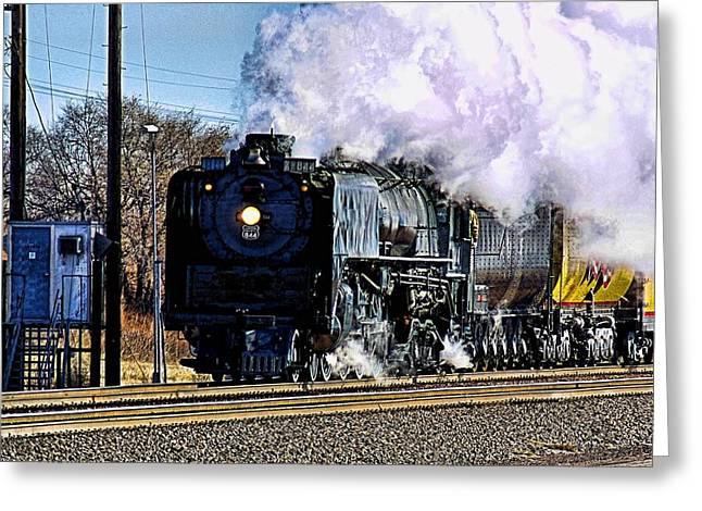Greeting Card featuring the photograph Up 844 Movin' On by Bill Kesler