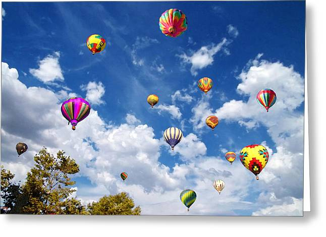 Up And Away - Hot Air Balloons Greeting Card by Glenn McCarthy Art and Photography