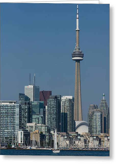 Up Close And Personal - Cn Tower Toronto Harbor And Skyline From A Boat Greeting Card