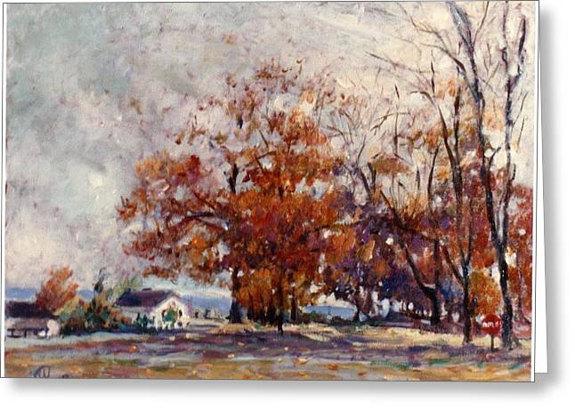Greeting Card featuring the painting Up State Ny - Nyack by Walter Casaravilla