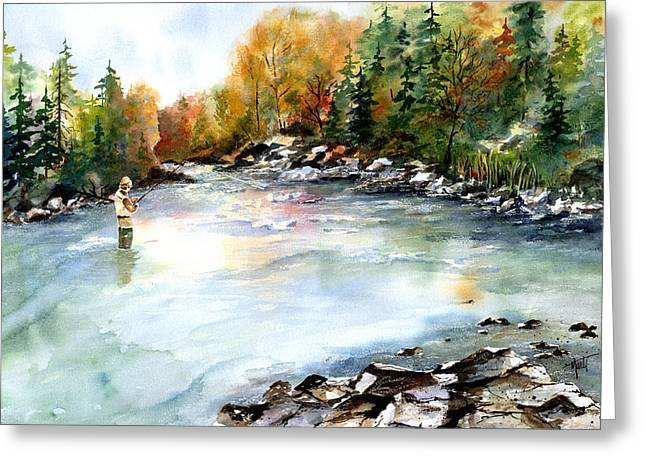 Greeting Card featuring the painting Up Stream by Marti Green