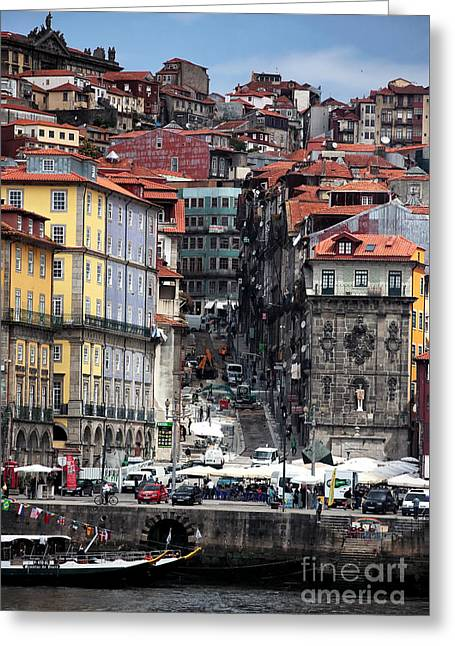 Up The Hill In Porto Greeting Card by John Rizzuto
