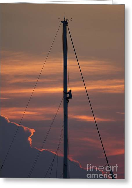 Up The Mast Of 72ft Alden Yacht Fearless Greeting Card