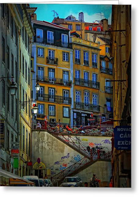 Up The Stairs - Lisbon Greeting Card by Mary Machare
