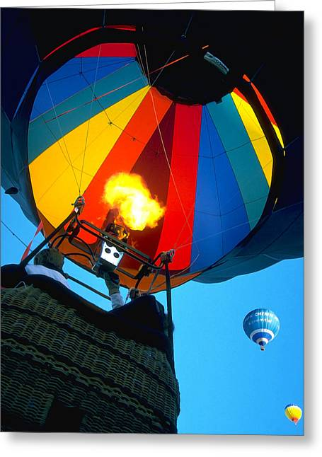 Balloon Fiesta Greeting Cards - Up Up and Away Greeting Card by Bill Caldwell -        ABeautifulSky Photography