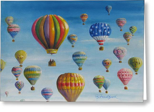 Greeting Card featuring the painting Up Up And Away by Oz Freedgood