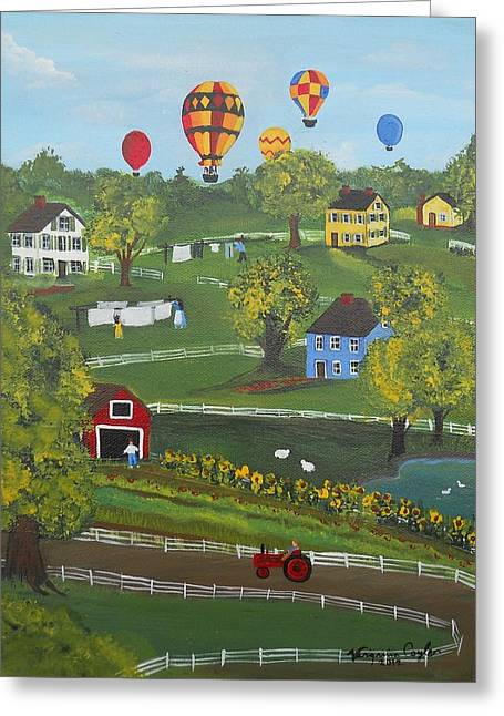 Up Up And Away Greeting Card by Virginia Coyle
