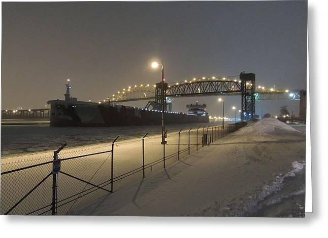 Upbound To Icebound - Edgar B Speer - Soo Locks Greeting Card by Mikel Classen
