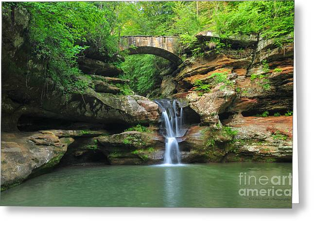 D10a-113 Upper Falls At Old Mans Cave Hocking Hills Photo Greeting Card
