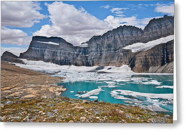 Upper Grinnell Lake And Glacier Greeting Card