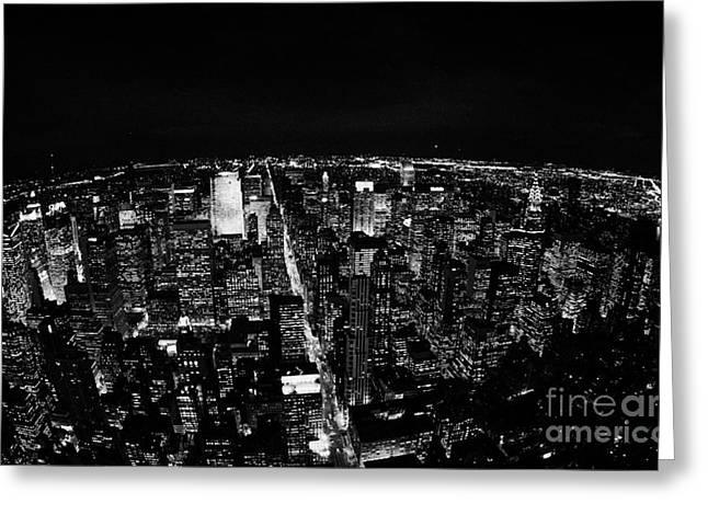 Upper Manhattan Night New York City Skyline Cityscape View  Greeting Card