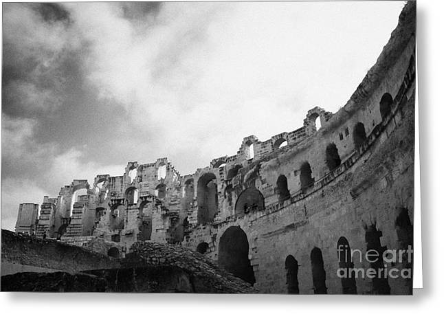 Upper Tiers Of The Old Roman Colloseum From The Inside Looking Up At Blue Cloudy Sky At El Jem Tunisia Greeting Card
