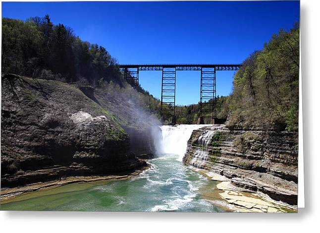 Upper Waterfalls In Letchworth State Park Greeting Card by Paul Ge