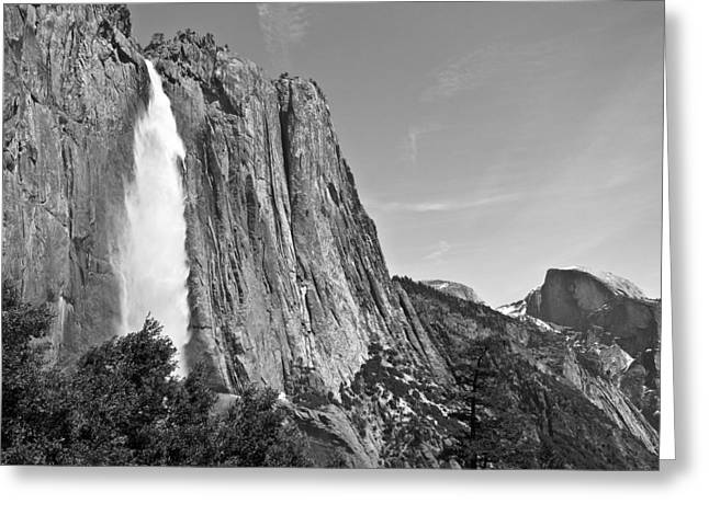 Upper Yosemite Fall With Half Dome Greeting Card