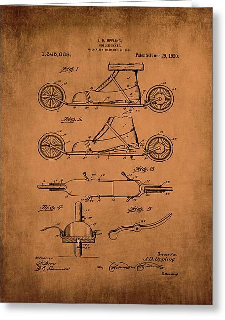Uppling 1920 Roller Skates Antiqued Greeting Card by Lesa Fine