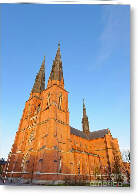 Uppsala Cathedral In Sweden - Glowing In The Evening Light Greeting Card