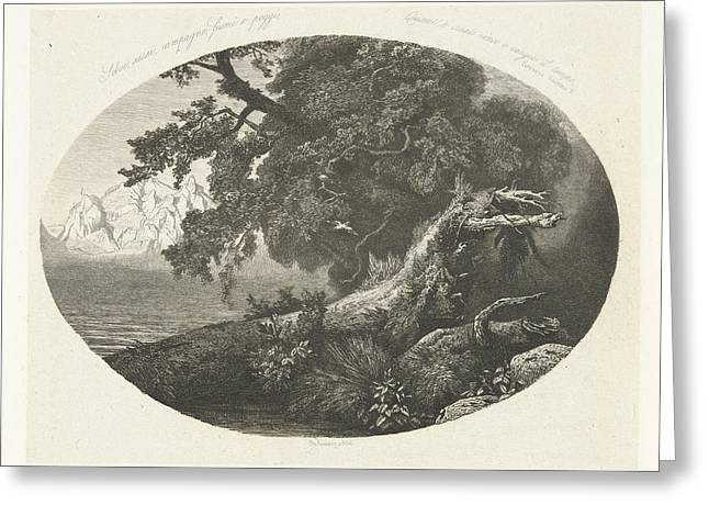 Uprooted Tree Trunk On The Coast, Pierre Louis Dubourcq Greeting Card by Pierre Louis Dubourcq