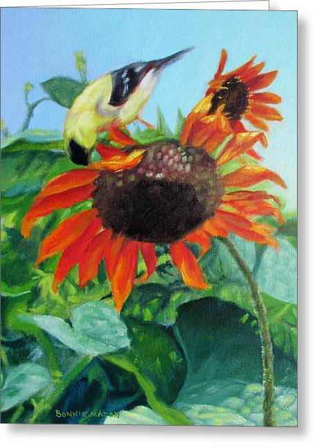 Upside Down Delight-goldfinch On Sunflower Greeting Card by Bonnie Mason