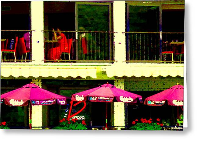 Upstairs Le Grill Barroso Lachine Conversation By The Window Rue St Joseph City Scene Carole Spandau Greeting Card
