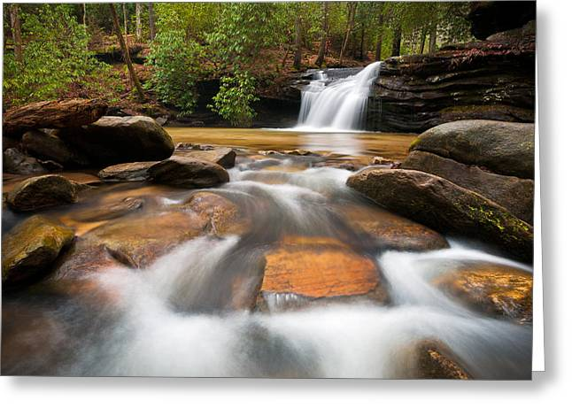 South Carolina Blue Ridge Mountains Waterfall Nature Photography  Greeting Card by Dave Allen