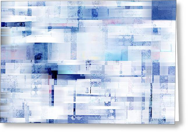 Uptown Blues On Square -abstract -art Greeting Card by Ann Powell