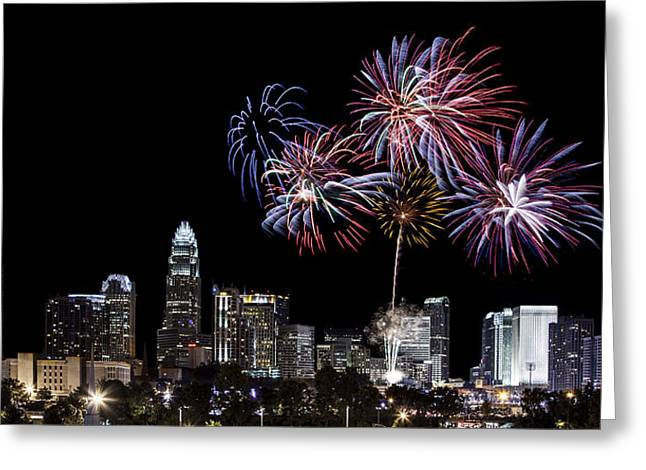 Uptown Fireworks 2014 - Pano Greeting Card by Chris Austin