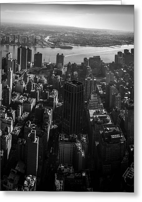 Uptown Manhattan Triptych Right Greeting Card by David Morefield