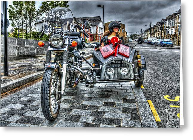 Ural Wolf 750 And Sidecar Greeting Card by Steve Purnell