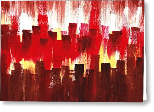 Greeting Card featuring the painting Urban Abstract Evening Lights by Irina Sztukowski