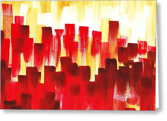 Greeting Card featuring the painting Urban Abstract Red City Lights by Irina Sztukowski