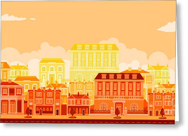 Urban Avenue Scene With Smart Townhouses Greeting Card