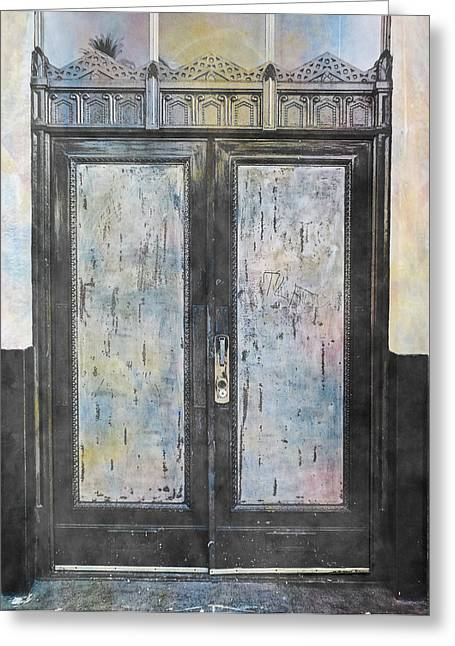 Greeting Card featuring the photograph Urban Bank Doorway by John Fish