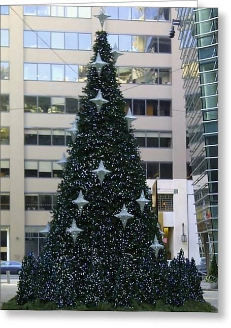 Urban Christmas Tree Greeting Card by John Wartman