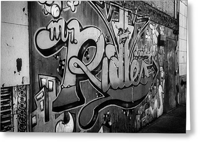 Urban Decay In Black And White Greeting Card by John Hoey