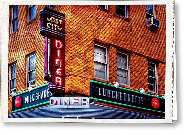 Urban Diner Luncheonette Lost City Baltimore Maryland Greeting Card