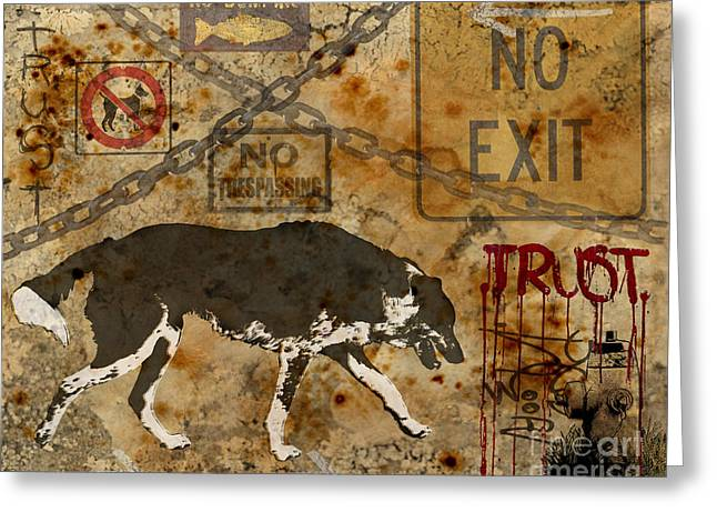 Urban Dog Greeting Card by Judy Wood