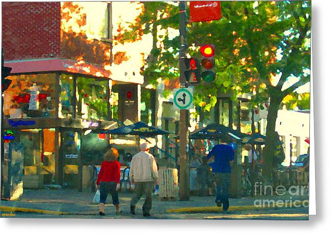 Urban Explorers Couple Walking Downtown Streets Of Montreal Summer Scenes Carole Spandau Greeting Card by Carole Spandau
