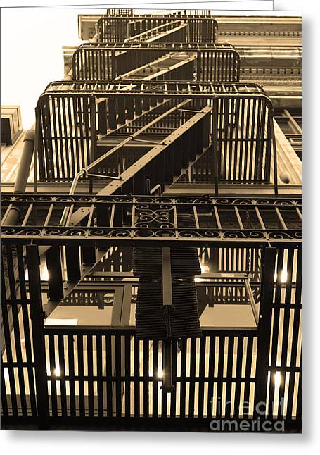 Urban Fabric - Fire Escape Stairs - 5d20592 - Sepia Greeting Card