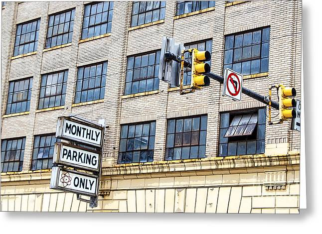 Urban Garage Monthly Parking Only Greeting Card by Janice Rae Pariza