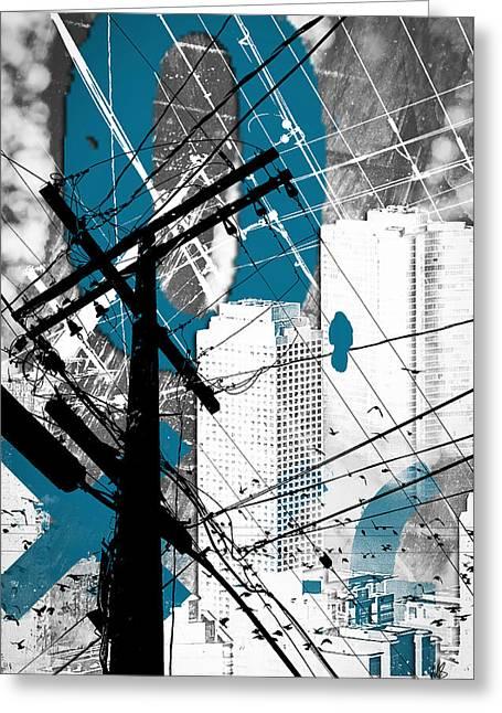 Urban Grunge Blue Greeting Card by Melissa Smith