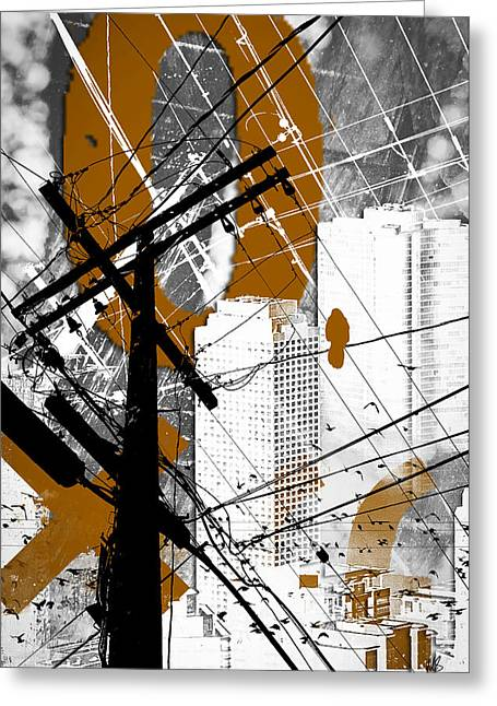 Urban Grunge Orange Greeting Card by Melissa Smith