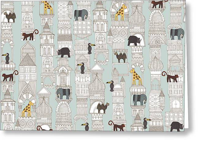 Urban Jungle Silver Greeting Card by Sharon Turner