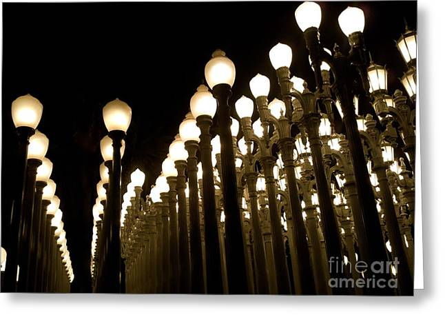 Urban Light At-lacma Greeting Card by Maureen J Haldeman
