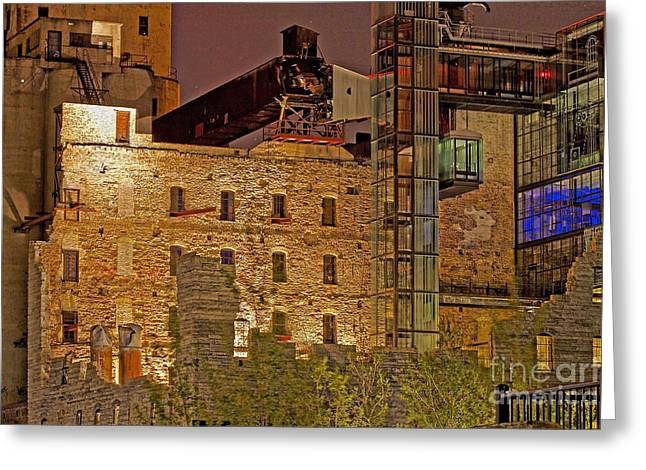 Urban Ruins At Night Greeting Card