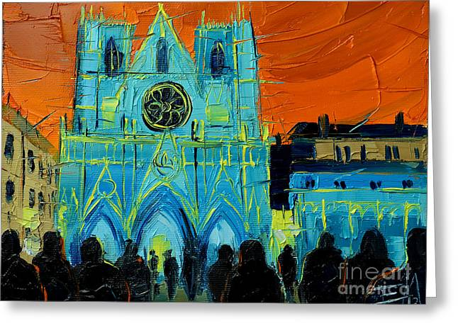 Urban Story - The Festival Of Lights In Lyon Greeting Card by Mona Edulesco