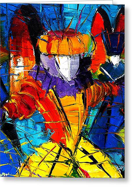 Urban Story The Venice Carnival 2 Painting Detail Greeting Card