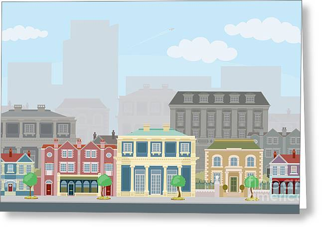 Urban Street Scene With Smart Townhouses Greeting Card