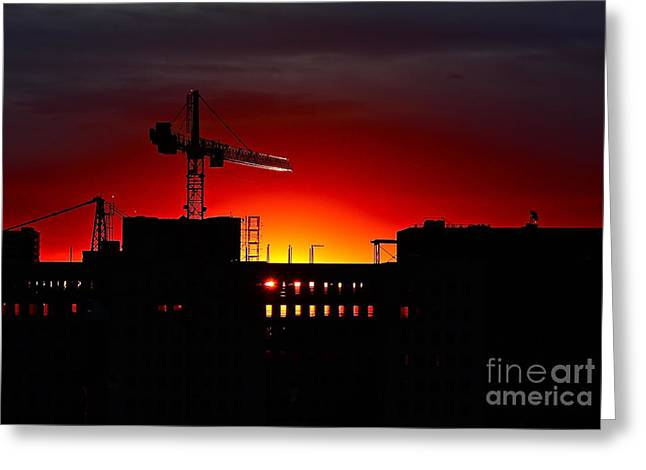 Greeting Card featuring the photograph Urban Sunrise by Linda Bianic