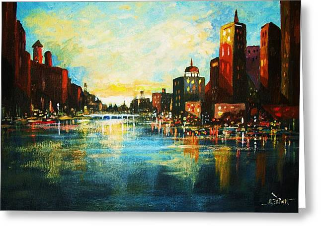 Urban Sunset Greeting Card by Al Brown
