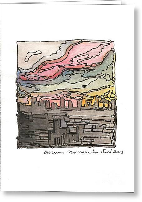 Urban Sunset Greeting Card by Aruna Samivelu